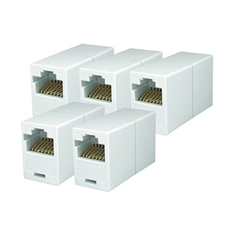 iMBAPrice RJ45 Coupler - (Pack of 5) Cat5e Ethernet Cable Extender Female to Female Straight Modular Inline Coupler