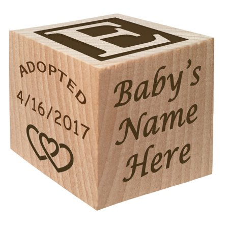 Gotcha Day - Adoption Gift - Personalized Wooden Block Child Keepsake Gift Custom Engraved Boys and Girls Adopt Adopted Present by Glitzby - Buy Custom