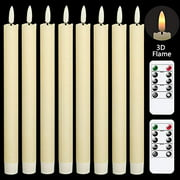 GenSwin Flameless Flickering Taper Candles with 2 Remote Controls and Timer, Real Wax 3D Wick Light Window Candles Battery Operated Pack of 8, Christmas Home Wedding Decor(Ivory, 0.78 X 9.64