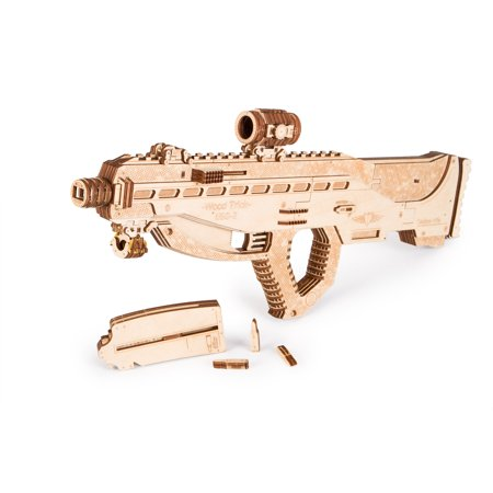 Wood Trick 3D Mechanical Model Kit Assault Gun USG-2 Tactical Rifle Wooden Puzzle, Assembly Constructor Brain Teaser Gears Set DIY Toy IQ