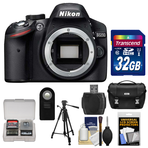 Nikon D3200 Digital SLR Camera Body (Black) - Factory Refurbished with 32GB Card + Case + Tripod + Remote + Accessory Kit