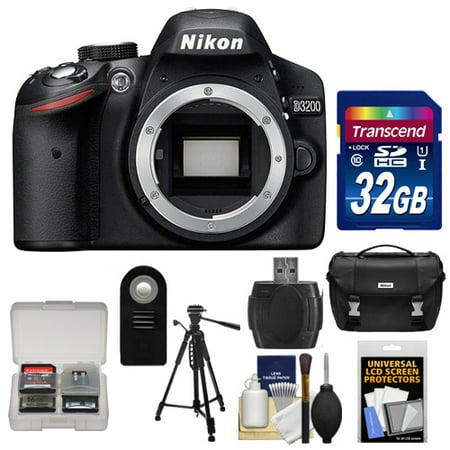 Nikon D3200 Digital SLR Camera Body (Black) - Factory Refurbished with 32GB Card + Case + Tripod + Remote + Accessory Kit