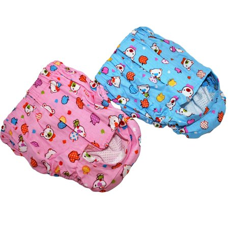 SET of 2 Colors Dog Cat Puppy DIAPERS Female Girl For Small Pet WASHABLE Reusable 100% Cotton size XS: Waist 9