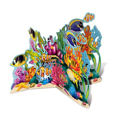 Pack of 6 Multicolor Coral Reef Sea Life 3-D Stand-Up Centerpiece Decoration 26