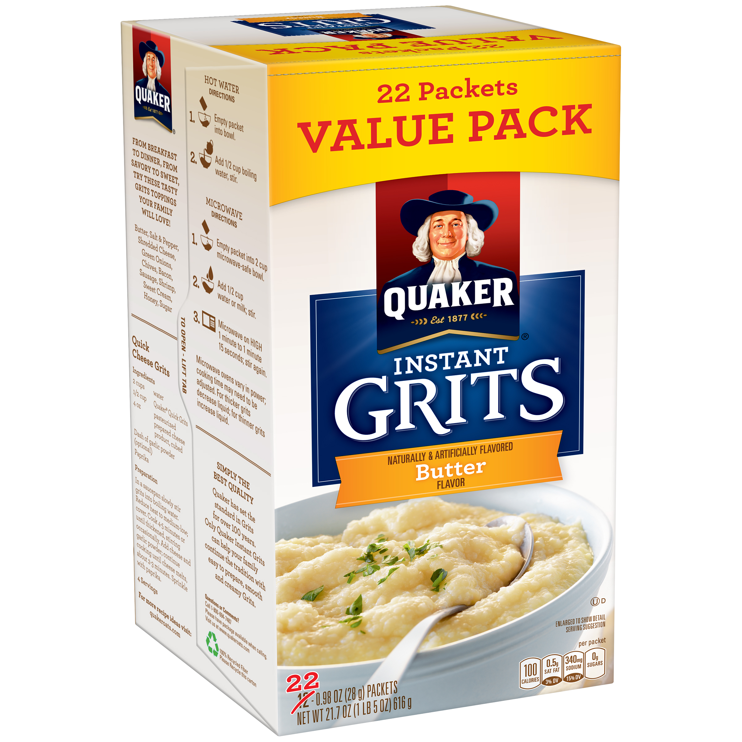Quaker�� Butter Instant Grits 22-0.98 oz. Packets