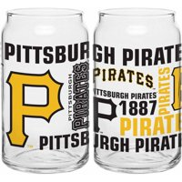 Boelter Brands MLB Set of Two 16 Ounce Spirit Glass Can Set, Pittsburgh Pirates