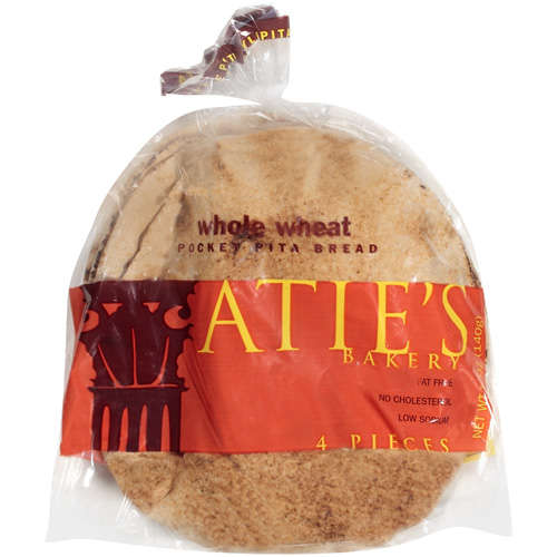 Atie's Bakery Whole Wheat Pocket Pita Bread, 5 oz