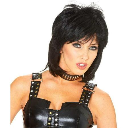 Joan Jett Wig 80s Rocker Adult Women's Costume Short Black Hair Rock Star Singer - 80s Hair Wigs
