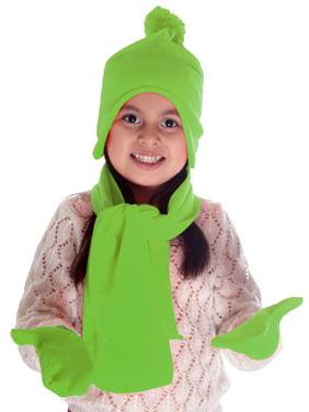 Children's 3 Piece Autumn / Winter Set - Knit Beanie, Mittens, & Scarf,Lime