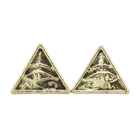 Ebros Classical History Egyptian Pyramid Eye Of Horus Golden Stud Earrings Pair Pewter Jewelry (Checkered Pyramid Stud)