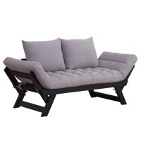 Homcom Single Person 3 Position Convertible Couch Chaise Lounger Sofa Bed