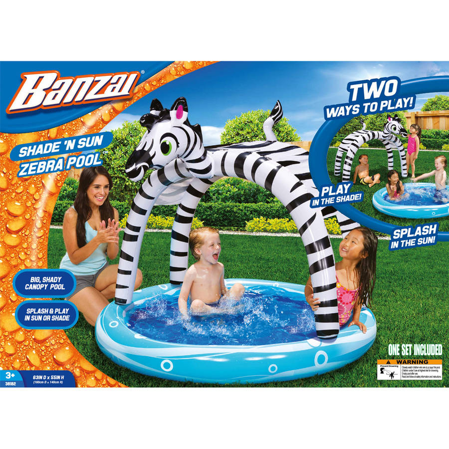 Spring /& Summer Toys Banzai Shade /'N Sun Zebra Pool with Removable Canopy