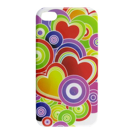 Hard Plastic IMD Colorful Heart Pattern Shield Cover for iPhone 4 4S