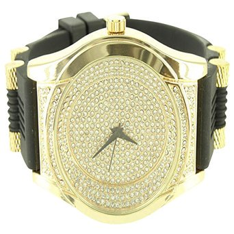 14K Crisp Gold Finish Silicone Band Techno Pave Hot New Lab Created Cubic Zirconia Mens Watch
