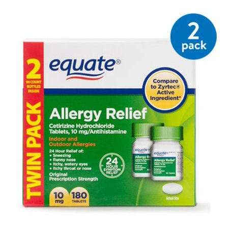 (2 Pack) Equate Allergy Relief Cetirizine Antihistamine Tablets, 10 mg, 90 Ct, 2 (Aller 7 Support 90 Tablets)