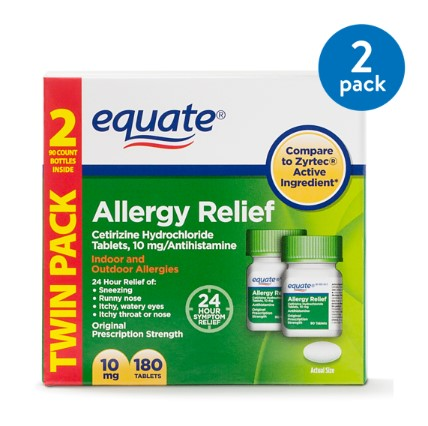 (2 Pack) Equate Allergy Relief Cetirizine Antihistamine Tablets, 10 mg, 90 Ct, 2 Pk