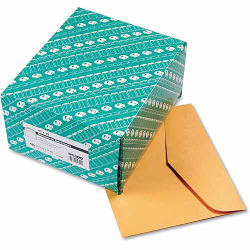 "Quality Park Open Side Booklet Envelope, Traditional, 12"" x 10, Brown Kraft, 100/Box"