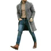 Men Wool Coat Winter Warm Trench Coat Outwear Overcoat Long Sleeve Casual Jacket