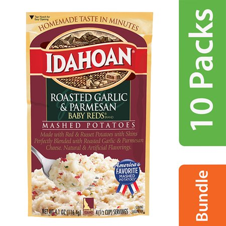 (10 Pack) Idahoan Baby Reds Roasted Garlic & Parmesan Mashed Potatoes, 4.1