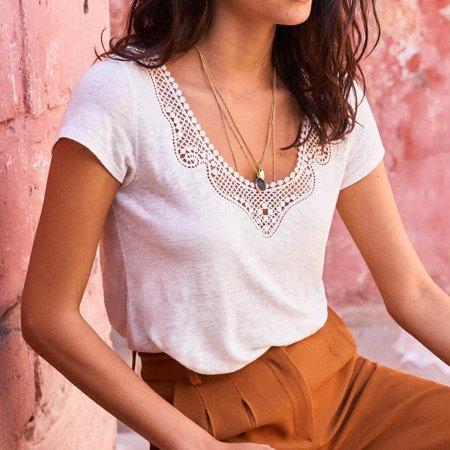 XIAXAIXU Womens Fashion Lace Crochet Neck Summer Loose Tops Cotton Short Sleeve Blouse T Shirt Tee S