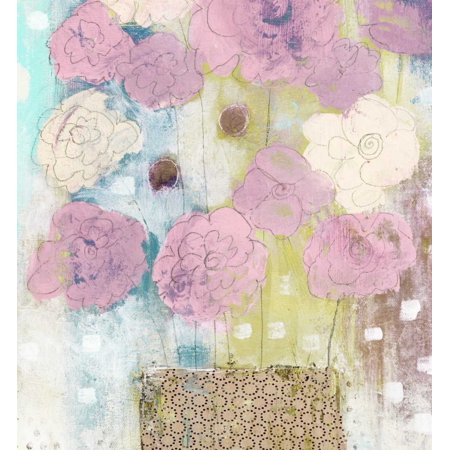 Lavender and Lime Flowers in Vase Poster Print by Sarah Ogren ()