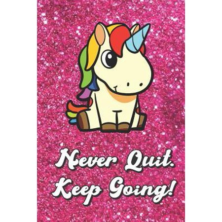 Never Quit Keep Going: Magical Unicorn On Pink Glitter Stars Effect Background, Lined Paper Note Book For Girls or Boys To Draw, Sketch & Cra (Keep The Conversation Going With A Girl)