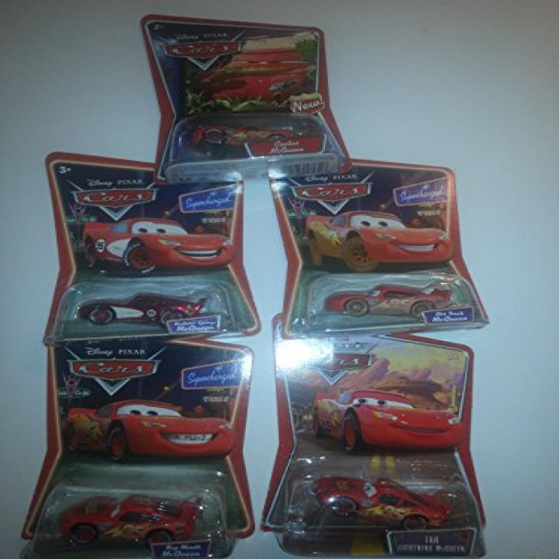Disney Cars LIGHTNING MCQUEEN set of 5: Sold Out! Includes: Radiator Springs, Dirt Track, Cactus, Bug Mouth and Tar McQueen!!