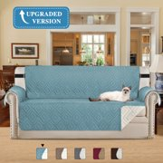 New and Improved Anti-Slip Grip Furniture Protector with Stay Put Straps Microfiber Fabric (Sofa, Stone Blue, 75 x 110 inch)ND