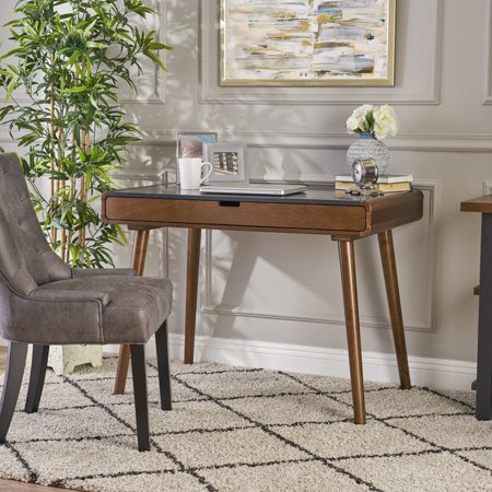 Faux Leather Desk - Christopher Knight Home Peninah Mid Century Faux Rubberwood Writing Desk by  charcoal grey + medium brown