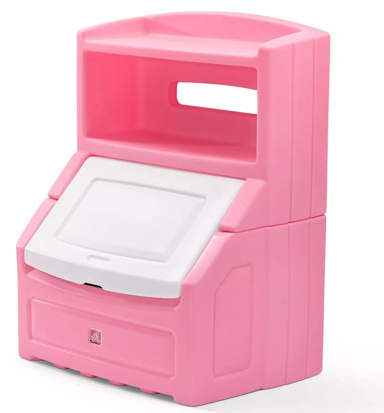 "Step2 Lift & Hide 38""H Kids Plastic Storage Bin and Toy Organizer, Pink"