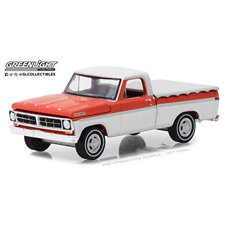 1971 Ford F-100 Pickup Truck with Bed Cover White and Orange Hobby Exclusive 1/64 Diecast Model Car by Greenlight (Flat Bed Truck Models)