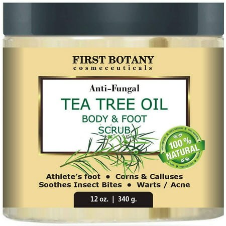 100% Natural Anti Fungal Tea Tree Oil Body & Foot Scrub 12 oz. with Dead Sea Salt - Best for Acne, Dandruff and Warts, Helps with Corns, Calluses, Athlete foot, Jock Itch & Body (Best Foot Odour Products)