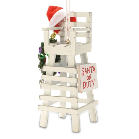 Coastal Beach Lifeguard Chair Santa on Duty Christmas Holiday Tree (Santa Tree Ornament)