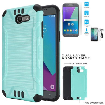 new product 08b00 71188 Phone Case for Straight Talk Samsung Galaxy J3 Luna Pro 4G LTE / Samsung J3  Emerge Tempered Glass Screen with Brush Dual-Layered Cover (Combat Brush ...