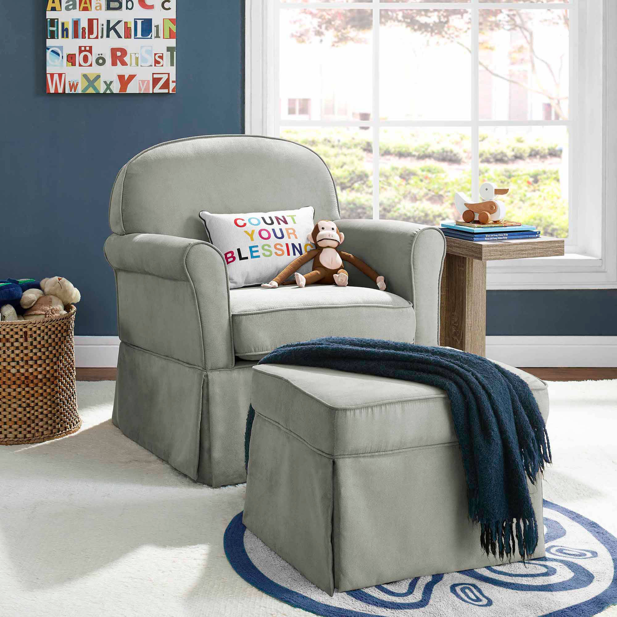 Baby Relax Evan Swivel Glider and Ottoman Beige Walmart
