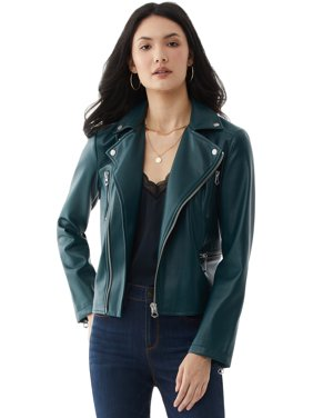 Scoop Womens Faux Leather Moto Jacket
