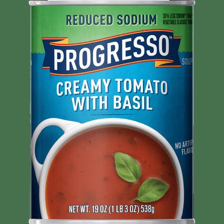 (8 Pack) Progresso Soup, Reduced Sodium, Creamy Tomato Basil Soup, 19 oz (Heinz Cream Of Tomato Soup)