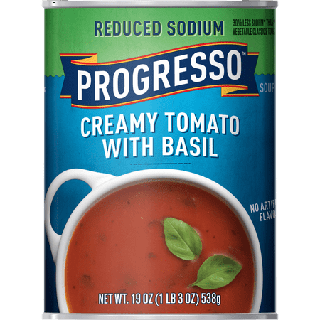(8 Pack) Progresso Soup, Reduced Sodium, Creamy Tomato Basil Soup, 19 oz Can
