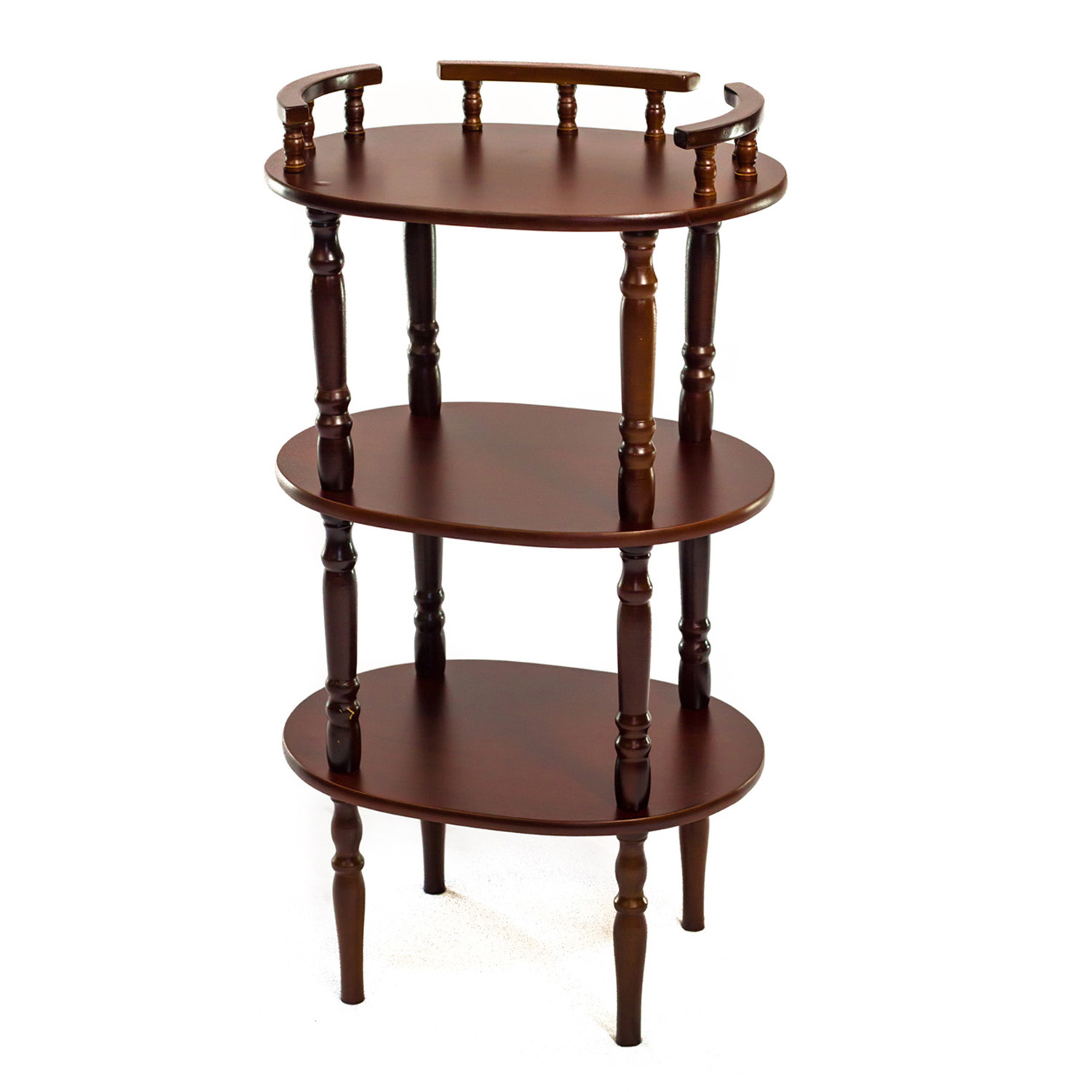 Home Source Mahogany Telephone Stand with Shelves