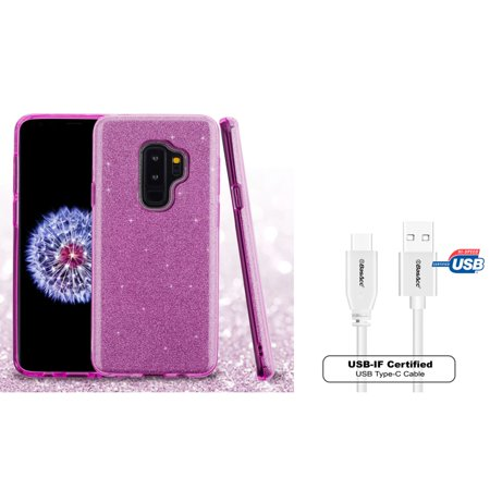 Insten Glitter Hard Snap-in Case Cover For Samsung Galaxy S9 Plus S9+ - Purple (Bundle with USB Type C Cable)