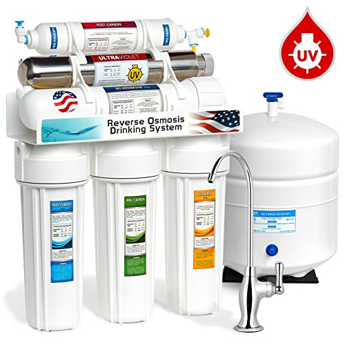Express Water 6 Stage UV Ultra-Violet Sterilizer Reverse Osmosis Home Drinking Water Filtration System -100gpd- DELUXE faucet - ROUV10D