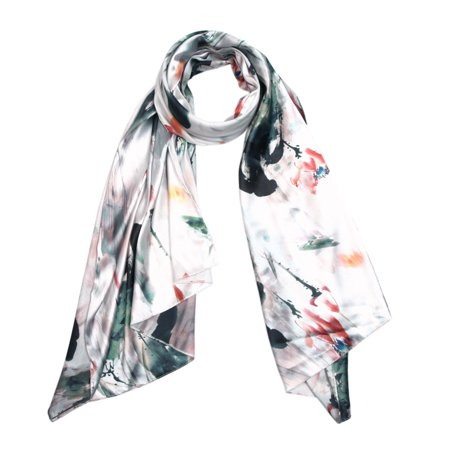 - TrendsBlue Elegant Artistic Floral Scenery Painting Silk Feel Fashion Scarf Wrap