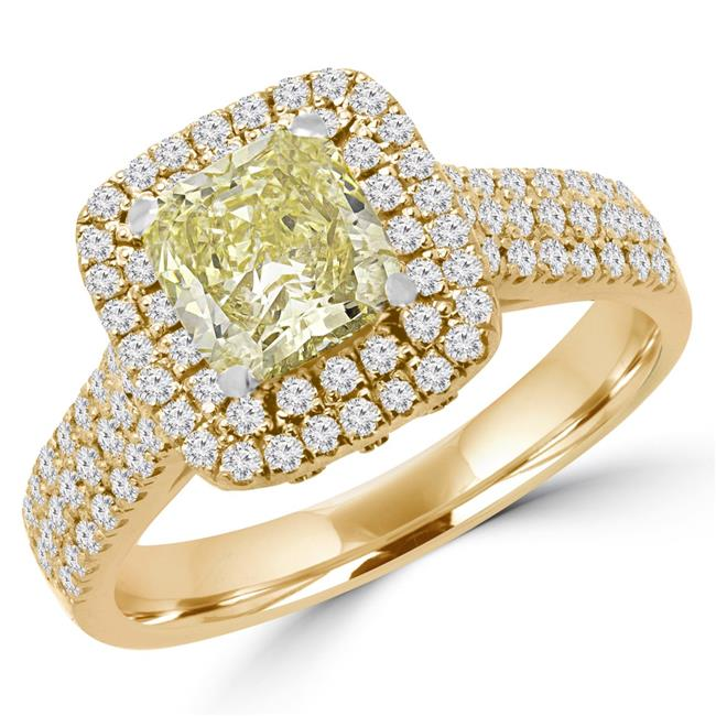 Majesty Diamonds MD160428-3.5 2.5 CTW Cushion Cut Fancy Yellow Diamond Halo Engagement Ring in 18K Yellow Gold - Size 3.5