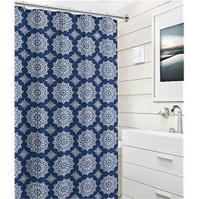 Navy Blue White Fabric Shower Curtain Ornate Medallion Circle Design