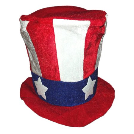 Patriotic Red, White, And Blue Large Felt Top Hat for - Patriotic Top Hat