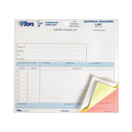 TOPS, TOP3834, 3-Part Carbonless Shipper/Packing Forms, 50 / Pack, White,Canary,Pink