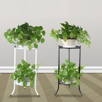 Indoor/Outdoor 2-Tier Metal Flower Stand Shelf Holder Decorative Plant Stand Rack Pot w/Tray Design Garden & Home Black