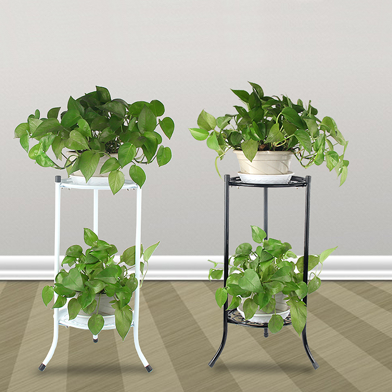 Indoor/Outdoor 2-Tier Metal Flower Stand Shelf Holder Decorative Plant Stand Rack Pot w/Tray Design Garden & Home Black