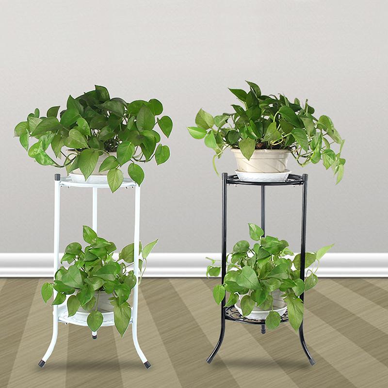 2 Tier Metal Plant Stand Garden Decor Planter Holder Flower Pot Shelf Rack Home