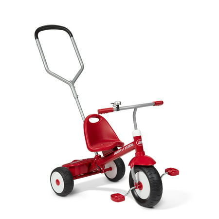 Infant Tricycle - Radio Flyer, Deluxe Steer & Stroll Trike, Parent Push Handle, Red